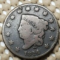 1824/2 CORONET HEAD COPPER 1 LARGE CENT BETTER DATE  COIN