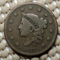 1837 CORONET HEAD LARGE CENT COPPER 1 EARLY TYPE US COIN