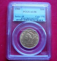 $10.00 LIBERTY HEAD GOLD COIN  EAGLE  PCGS CERTIFIED   AU58