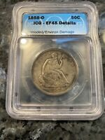 1858 O SEATED LIBERTY HALF EXTRA FINE DETAILS