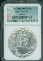 1986 AMERICAN SILVER EAGLE ASE S$1 NGC MINT STATE 69 SPECIAL FIRST YEAR TAG