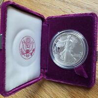 1991 S PROOF AMERICAN SILVER EAGLE DOLLAR IN US MINT BOX WITH COA