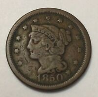 1850 UNITED STATES BRAIDED HEAD COPPER LARGE ONE CENT COIN CIRCULATED