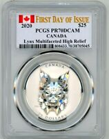 2020 CANADA SILVER LYNX MULTIFACETED HIGH RELIEF PCGS PR70 F