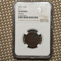 1851 C-1 BRAIDED HAIR HALF CENT 1/2 COPPER COIN EARLY US TYPE NGC EXTRA FINE  DETAILS