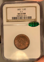 1851 1/2C NGC MINT STATE 63 RB CAC BRAIDED HAIR HALF CENT - RED BROWN