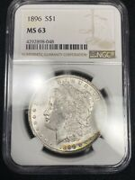 TEXTILE REVERSE CRESCENT TONED OBVERSE 1896 MORGAN SILVER DOLLAR MINT STATE 63 256