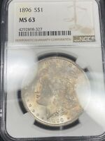 TEXTILE TONED OBVERSE 1896 MORGAN SILVER DOLLAR MINT STATE 63 280
