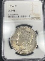 REVERSE COLOR TONED 1886 MORGAN SILVER DOLLAR MINT STATE 63 283