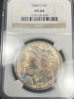 OBVERSE TONED 1888 O MORGAN SILVER DOLLAR MINT STATE 64 288