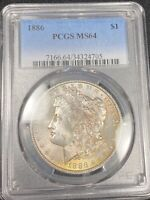 COOL COLOR OBVERSE TONED 1886 MORGAN SILVER DOLLAR MINT STATE 64 294