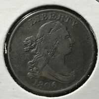 1806 DRAPED BUST HALF CENT SMALL 6 NO STARS  COIN