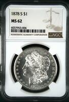 1878 S MORGAN SILVER DOLLAR NGC MINT STATE 62