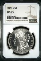 1878 S MORGAN SILVER DOLLAR NGC MINT STATE 63