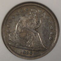 1838 LARGE STARS SEATED LIBERTY DIME 10C ANACS CERTIFIED EXTRA FINE 45 GREER-106