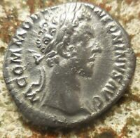 NEAR EF FOR TYPE  COMMODUS SILVER DENARIUS. AD 180. LIBERTAS HOLDING ABACUS