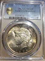 1922 PEACE SILVER DOLLAR - VAM12A - MINT STATE 63 PCGS - MOUSTACHE PRICE GUIDE $450
