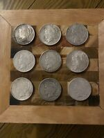 LOT OF 9 NINE PEACE SILVER DOLLARS