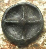 SHARP  MOESIA ISTROS. 5TH CEN BC. CAST WHEEL OF FOUR SPOKES SOLAR DISK / IT