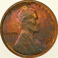 TONED NGC MINT STATE 64 RB 1949 S LINCOLN WHEAT CENT 1C GREEN PINK COLOR MINT STATE 64RB RED BROWN