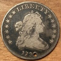 1799 DRAPED BUST SILVER DOLLAR HOLED