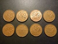 LOT OF EIGHT CAN 1C STRUCK ON CLIPPED PLANCHET ERRORS 1961 TO 1969