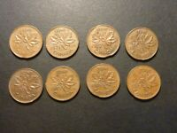 LOT OF EIGHT CAN 1C STRUCK ON CLIPPED PLANCHET ERRORS 1970 TO 1978