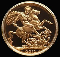 2011 GOLD GREAT BRITAIN PROOF 1/2 SOVEREIGN 3.99 GRAMS COIN