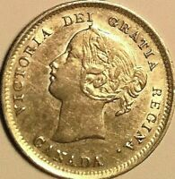 1899 CANADA SILVER 5 CENTS COIN   FANTASTIC EXAMPLE