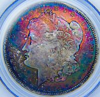 1884 O MINT STATE 64  CAC MORGAN SILVER DOLLAR MONSTER RAINBOW TONING   PCGS