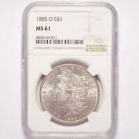1885-O MORGAN SILVER DOLLAR NGC MINT STATE 61