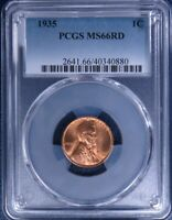 1935-P LINCOLN WHEAT CENT PCGS MINT STATE 66RD LF1042A/RH