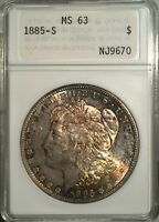 1885-S MORGAN DOLLAR  ANACS MINT STATE 63  SMALL WHITE HOLDER - LY TONED
