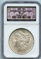 1887 S$1 MORGAN SILVER DOLLAR NGC MINT STATE 63 FITZGERALD COLLECTION