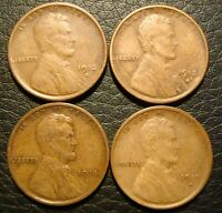 1912-S 1913-S, 1914-S AND 1915-S LINCOLN CENT GROUP OF 4 LINCOLN CENTS