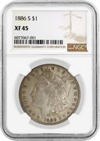 1886 S $1 MORGAN SILVER DOLLAR NGC EXTRA FINE 45  FINE CIRCULATED KEY DATE COIN