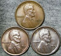 1910 1913-D 1913-S LINCOLN WHEAT CENTS ---- STUNNING LOT ---- A394