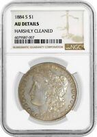 1884 S $1 MORGAN SILVER DOLLAR NGC AU DETAILS HARSHLY CLEANED KEY DATE COIN