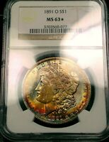 1891-O  MORGAN $  NGC   MINT STATE 63 STAR   COLORFUL TONING POP 1 OF 1 IN 63 STAR