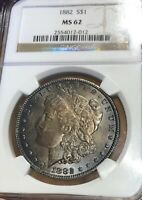1882 MORGAN SILVER DOLLAR NGC MINT STATE 62 DARK TONE/COLOR  READ BEFORE BUYING . . .
