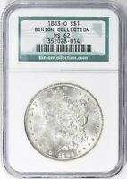 1883 O MORGAN SILVER DOLLAR  NGC MINT STATE 62   BINION COLLECTION HOARD  PQ