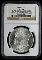 1881 S $1 MORGAN SILVER DOLLAR NGC MINT STATE 63 OLATHE DOLLAR HOARD FROM TREASURY BAGS