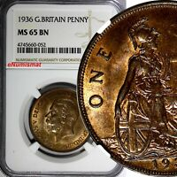 GREAT BRITAIN GEORGE V BRONZE 1936 1 PENNY NGC MINT STATE 65 BN  TONING KM 838
