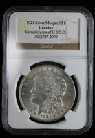 1921 $1 MORGAN SILVER DOLLAR NGC GENUINE COMPLIMENTS OF USSC
