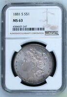 1881 S NGC MINT STATE 63 MORGAN SILVER DOLLAR