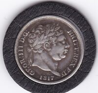 SHARP   1817   KING  GEORGE  III  STERLING   SILVER  SHILLING     BRITISH COIN
