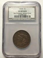 1838 MATRON HEAD US COPPER LARGE CENT PENNY GRADED NGC NCS EXTRA FINE  DETAILS