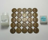 1929-D LINCOLN WHEAT CENTS HALF ROLL  25 SOLID DATES COINS  LOT S163