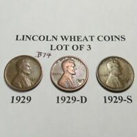 1929 1929-D 1929-S SET -LOT OF 3 LINCOLN WHEAT CENTS  COMB.SHIP LOT B74