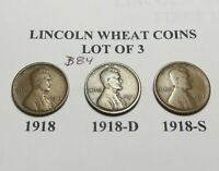 1918 1918-D 1918-S SET-LOT OF 3 LINCOLN WHEAT CENT COLLECTION COMB.SHIP LOT B84
